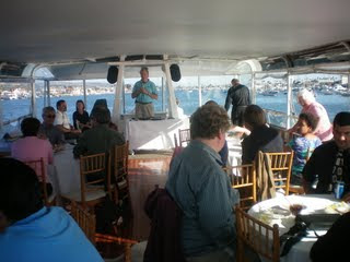 Mike speaking to guest on the Hornblower cruise