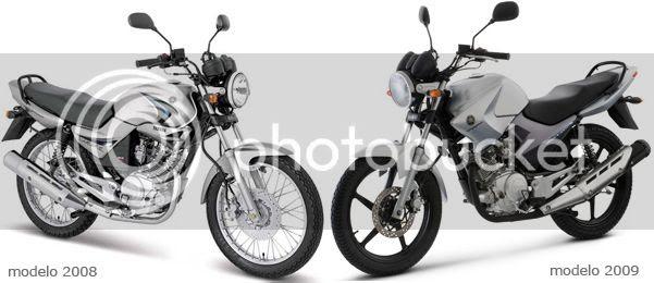 Montagem de fotos da YBR modelo 2008 e YBR modelo 2009