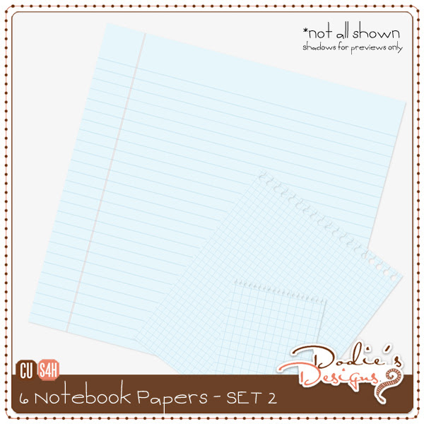 Notebook Style Lined Papers - Set 2