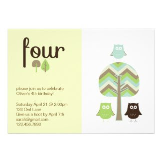 Owl 4th Birthday Invitation