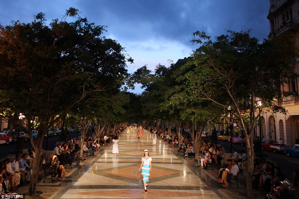Fashion first: Chanel became the first major fashion house to send models down the catwalk in Cuba on Wednesday night