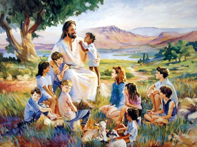 [Drawing of Jesus surrounded by children]