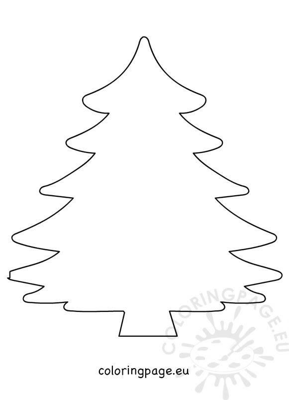 Big Pine tree Christmas shape - Coloring Page
