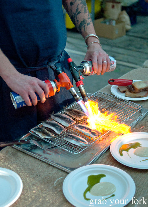 Blowtorching sardines at the Rootstock Sydney 2014 Night Festival