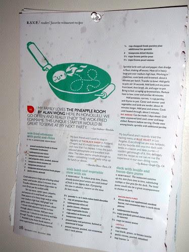 Wall of recipes