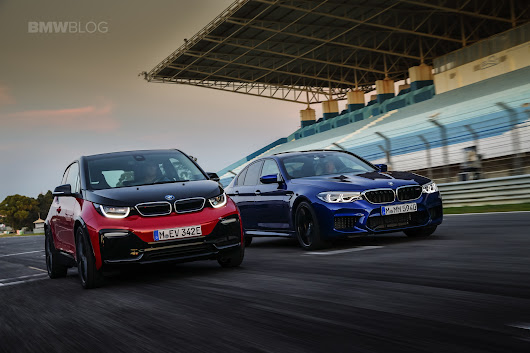 BMW M5 and i3s together on the race track