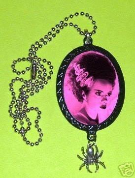 Bride of Frankenstein Handmade DIY Necklace with Spider Charm Goth