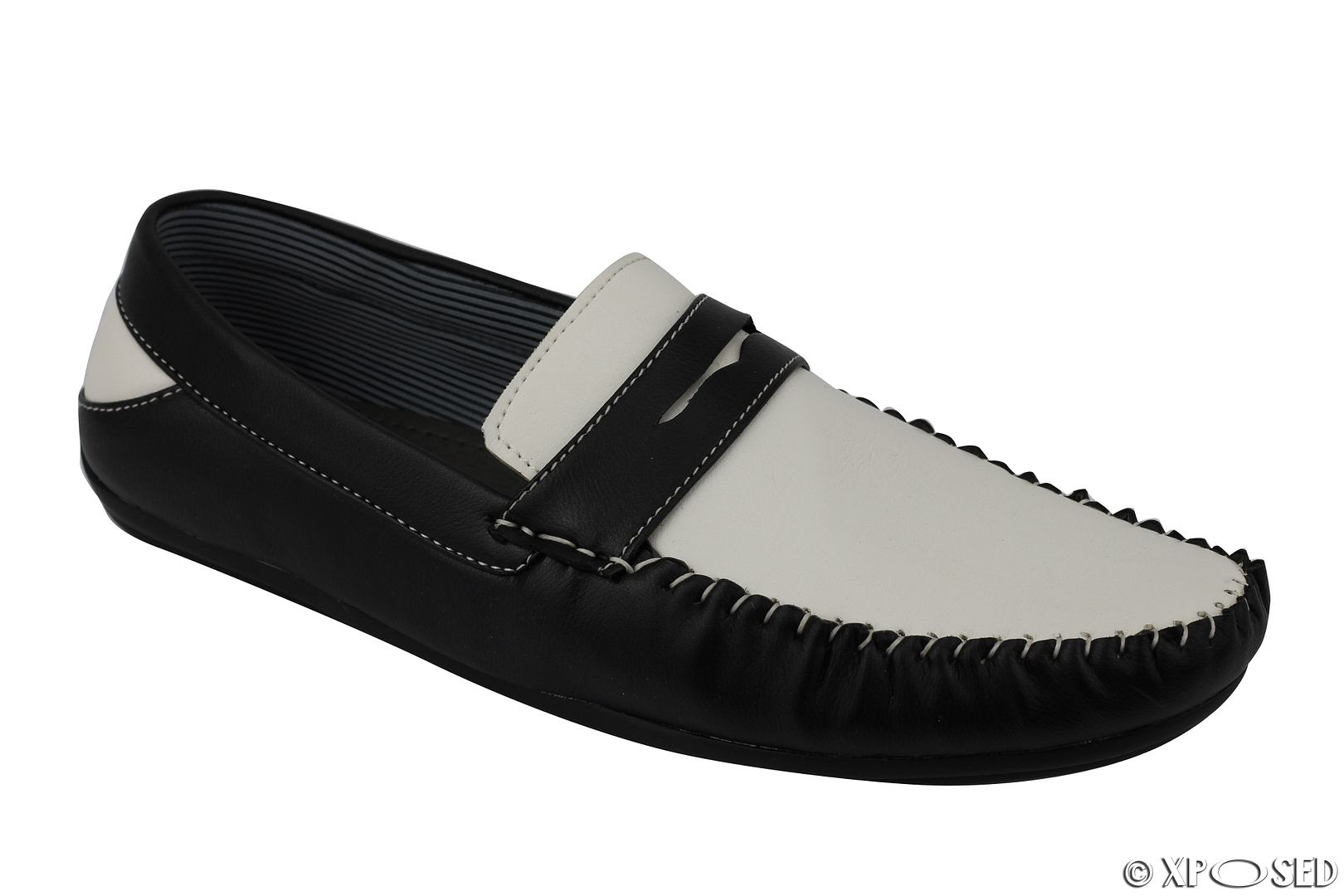 Mens Black Brown White Faux Leather Penny Loafer Smart ...
