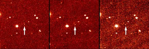 These three panels show the first detection of the faint distant object dubbed Sedna.