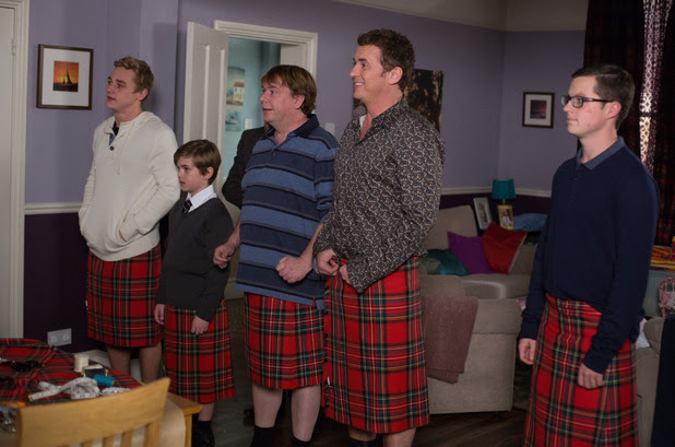 Jane is shocked to see the men in kilts!