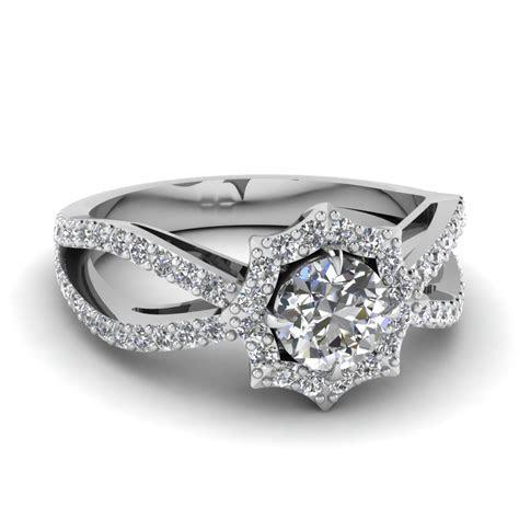Flower Halo Reversed Split Diamond Engagement Ring In 14K