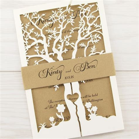 Laurel Tree with Belly Band Wedding Invitation   Pure