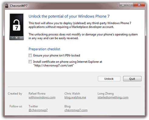 Unlock Windows Phone 7 by means of  ChevronWP7