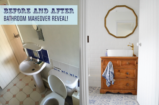 Blue and White Bathroom Makeover Before and After