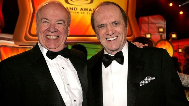 SANTA MONICA, CA - MARCH 13:  Actors Tim Conway (L) and Bob Newhart in the audience at the 2005 TV Land Awards at Barker Hangar on March 13, 2005 in Santa Monica, California.  (Photo by Vince Bucci/Getty Images)