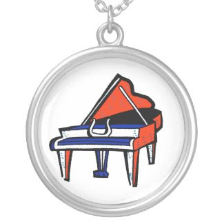 Grand Piano Red White Blue Graphic Image necklace
