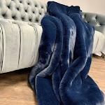 "Modern Soft Luxury Chinchilla Feel Faux Fur Throw Cal King/Eastern King - 104"" x 93"" / Navy"