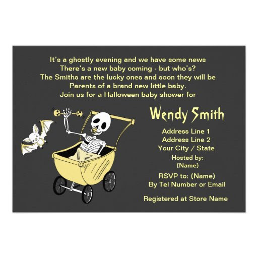 Little Skeleton Baby Shower Invitation Cards
