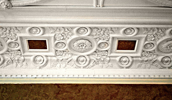 Detail Work of the Ceiling in the Music Room Dining Room of the Mansion at the Cranwell Resort, Spa, and Golf Club