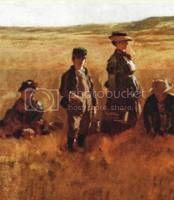 painting of women wearing straw hats while working on the farm