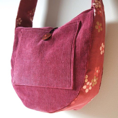 maroon and white mini messenger bag