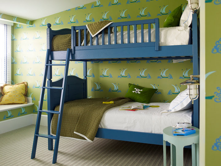 Katie Ridder - boy's rooms - blue and green boys rooms, blue and green boys bedrooms, blue bunk beds, blue ladders, blue bunk bed ladders, boys beds, boys bunk beds, boys bunk bed ladders, army green quilts, boys quilts, stitched bedding, boys bedding, bedding with stitching, white hotel bedding, window seats, boys window seats. boys bedroom window seats, boys wallpaper, boys bedroom wallpaper, green and blue wallpaper, sailboat wallpaper, green and blue sailboat wallpaper,
