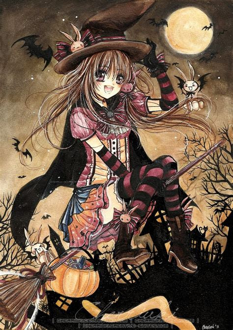 brujita en halloween ilustracion de cherriuki halloween