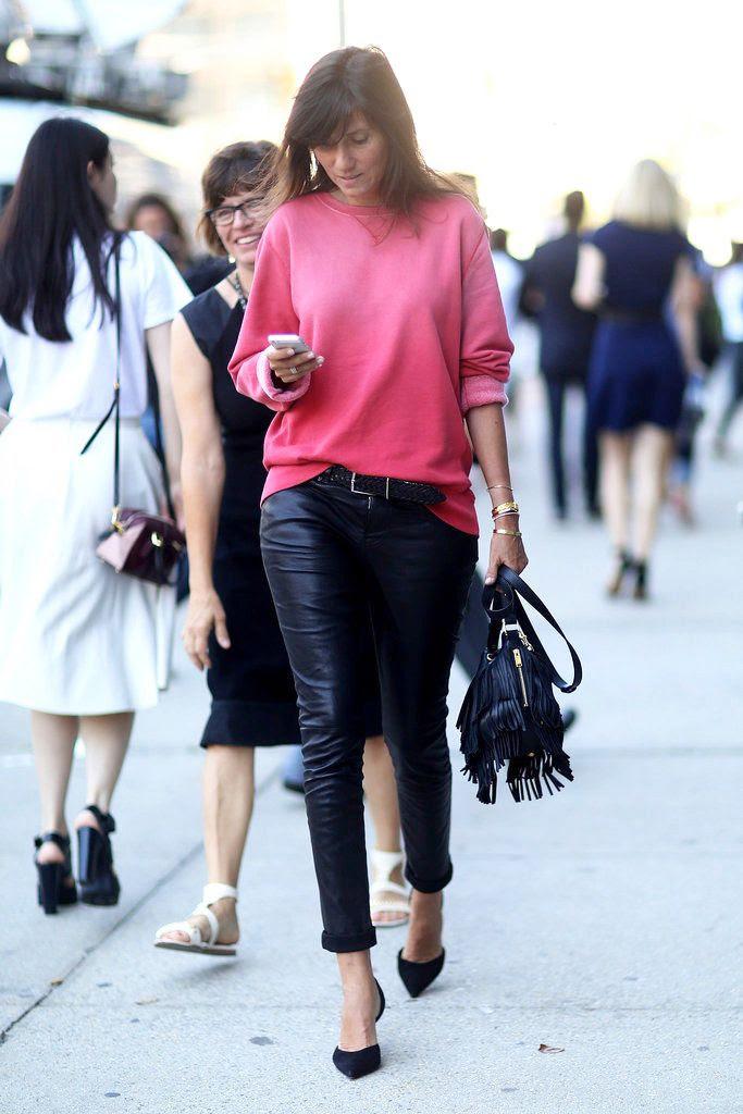 Le Fashion Blog -- Emmanuelle Alt in a bright pink sweatshirt, Saint Laurent fringe bag, leather pants and d'orsay pumps-- NYFW Street Style Via Fabsugar photo Le-Fashion-Blog-Emmanuelle-Alt-Bright-Pink-Sweatshirt-Saint-Laurent-Fringe-Bag-Dorsay-Pumps-NYFW-Street-Style-Via-Fabsugar.jpg