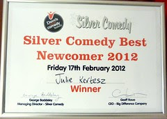 The Silver Comedy Best Newcomer 2012 Julie Kertesz certificate