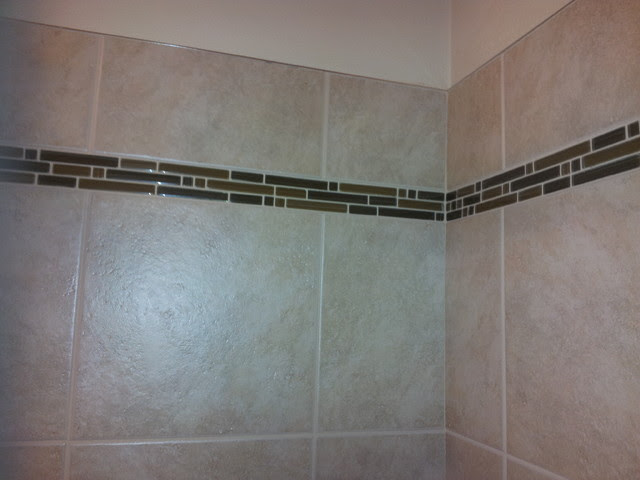Shower Accent Tile With Metal Edging - Bathroom - seattle ...