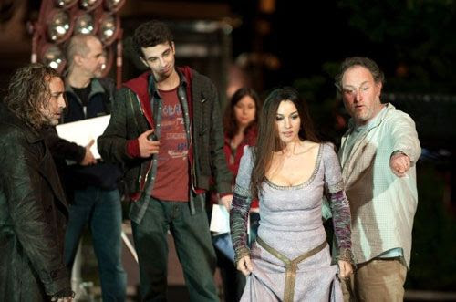 Nicolas Cage, Jay Baruchel, Monica Bellucci and director Jon Turteltaub on the set of THE SORCERER'S APPRENTICE.