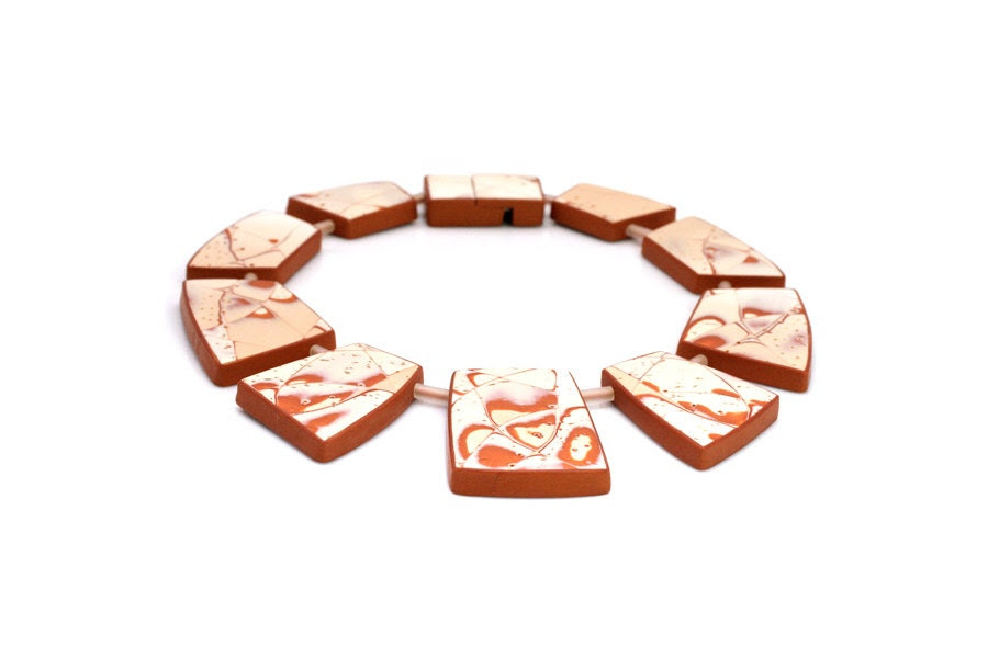 Apricot Statement Bib Collar Necklace Contemporary Art Jewelry Designers Fashion Large Peach Nude Beige Cream Blush Rusty Abstract Geometric - JagnaB