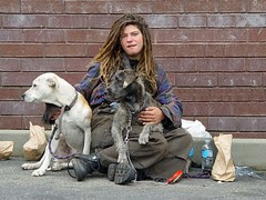 Homeless woman with dogs