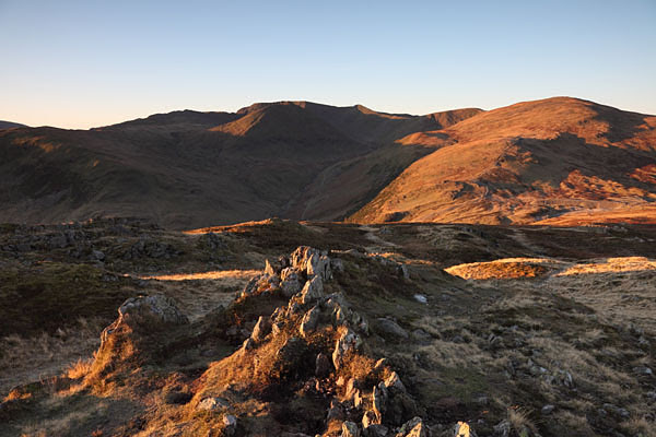 04D-0097 The Mountains of Helvellyn and Raise Viewed From the Summit of Sheffield Pike in Early Morning Light Lake District Cumbria UK