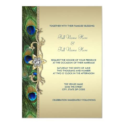 Emerald Green and Gold Peacock Wedding Card   Zazzle