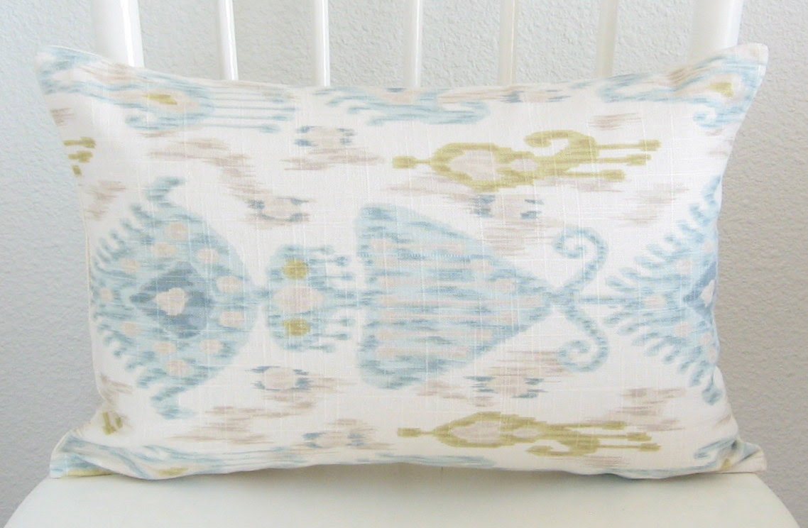 Decorative pillow cover - lumbar pillow - designer fabric - 12x18 - ivory - light blue and green ikat - linen