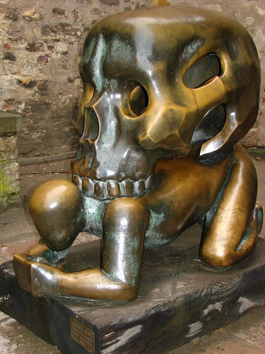 Parable with Skull - Sculpture by Jaroslaw Rona - Prague Castle - Prague, Czech Republic by Adam Jones, Ph.D.