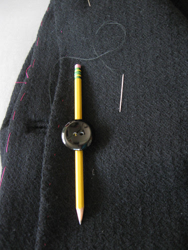 Button sewing with pencil