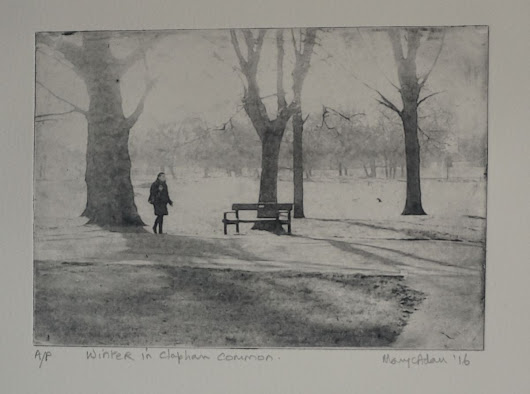 Winter in Clapham Common (2016) Etching / Engraving by Mary Adam