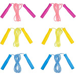 6- Pack 8-Feet Colored Skipping Jump Ropes For Kids, Play, Fitness, Games, And Party Favors, 3 Colors, Pink, Yellow, And Blue