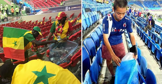 Japan And Senegal Fans Clean The Stadium After Historical Win in World Cup 2018