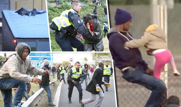 Migrants climb on to a lorry in Calais and the Eurotunnel