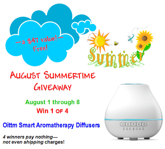 August Summertime Giveaway 2017 - Oittm Smart Aromatherapy Diffuser