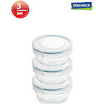 Snaplock Lid Tempered Glasslock Storage Round Container Airtight 3 Container Set Anti Spill Microwave & Oven Safe 0.73cups/173ml