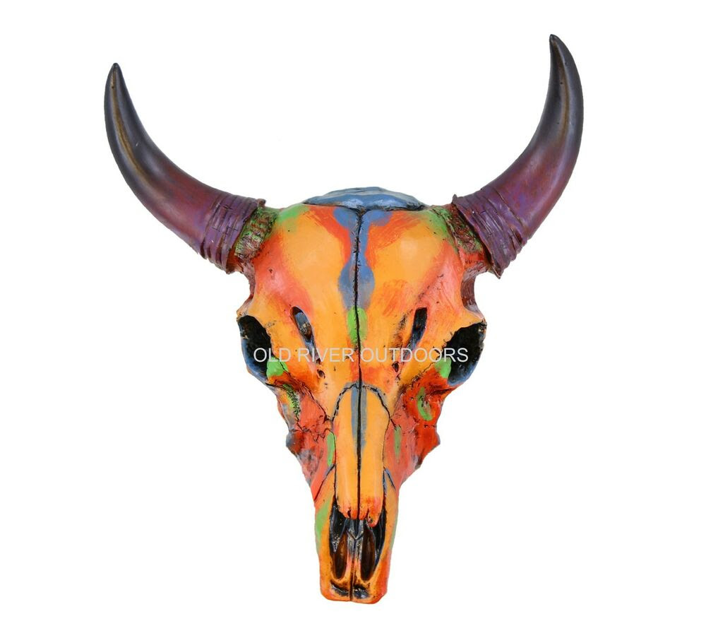 """Download Colorful 9"""" Small Size Faux Steer Bull Cow Skull - Painted ..."""