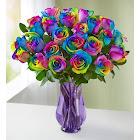 1-800-Flowers Two Dozen Rainbow Roses 24 Stems with Purple Vase