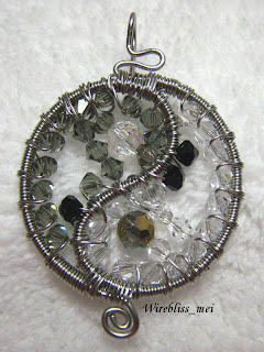 Yin & Yang Wire Wrapped Pendant with Swarovski Crystals