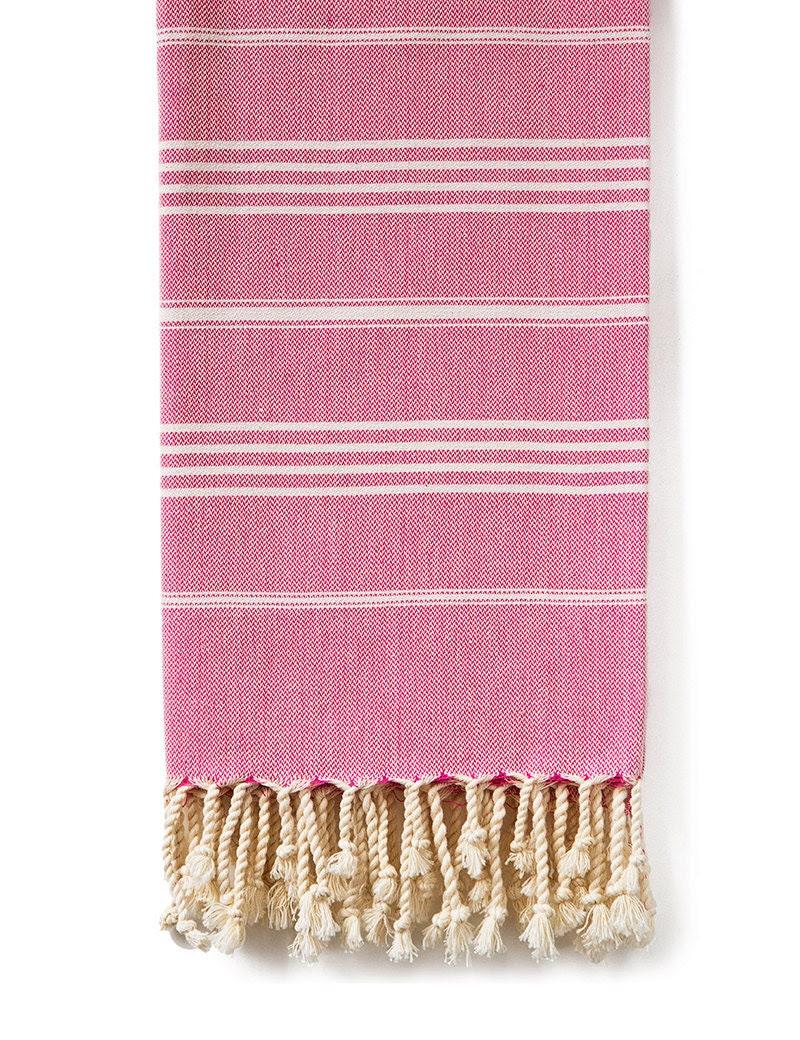 Fouta is a bath towel, a shawl, a blanket, a throw, a sofa cover, a beach accessory, a tablecloth. A true multipurpose product. Pink - Fouta