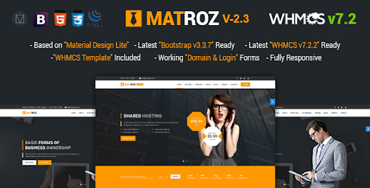 Download MatRoz | Web Hosting with WHMCS & Material Design Technology Business Template nulled | OXO-NULLED