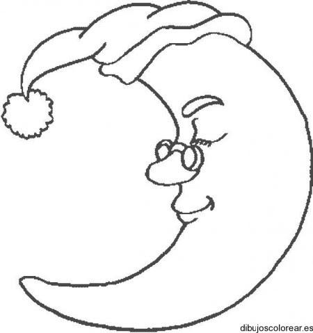 Dibujo De La Luna Con Su Gorro De Dormir